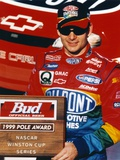 Jeff Gordon Posed in Black Ball cap and Red Overalls