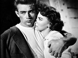 James Dean Hugged the Woman to His Chest Tight in Black Linen Suit and Round Neck White Shirt