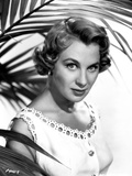 Mai Zetterling Posed in White Dress with Short Curly Hairstyle