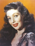 Loretta Young Curly Hairstyles  Red Lips and Lacy Black Dress