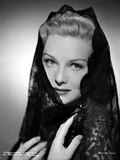 Madeleine Carroll Posed in Black Dress with Black Veil