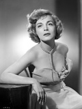 Lizabeth Scott Seated in Gown with Pearl Necklace