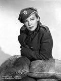 Madeleine Carroll Looking away in Black Suit with Hat