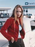 Leelee Sobieski Leaning in Red Sweater Portrait