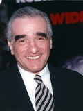 Martin Scorsese Close-up Portrait smiling in Black Suit with Tie