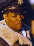 Laurence Fishburne in Fur Coat with Army Cap Portrait