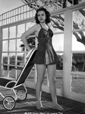 Jane Withers Posed in Black Linen Strap Dress with Short Skirt