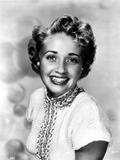 Jane Powell Portrait in White Knitted Short Sleeve Dress with Beaded Collar and Neckline