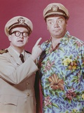 McHale's Navy Posed with a Two Men in Pink Background