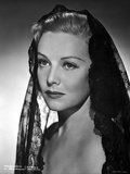 Madeleine Carroll Looking Away in Black Dress with Net Veil