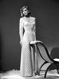 Lizabeth Scott posed on Gown in Black and White Portrait