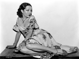 Lupe Velez sitting Pose in Classic Floral Dress