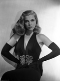 Lizabeth Scott Posed in Black Gown with Gloves