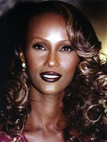 Iman with Dark lipstick and Curly Hair