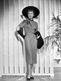 Jane Wyman Posed in Grey Short Sleeve Folded Top Silk Dress and Black Velvet Gloves with Black Hat