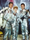 Lost In Space Two Men and Lady in Space Suit