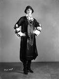 Pola Negri Posed with Hands on Hips in Black Gothic Outfit