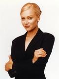 Portia Derossi Posed in Black Coat White Background Portrait