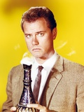 Larry Hagman Posed in Yellow Background