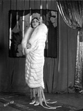Pola Negri Posed in White Fur Coat