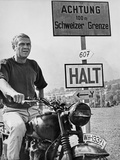 Steve McQueen in a Scene from the Great Escape on Motorcycle