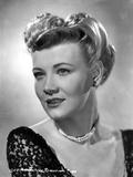Penny Singleton smiling in Black Floral Dress Close Up Portrait