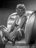 Penny Singleton Seated on Chair wearing Silk Dress