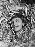 Mary Martin Surrounded with Hay and smiling Portrait