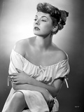 Ruth Roman in White Dress Portrait Black and White