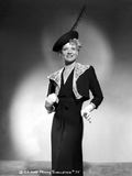 Penny Singleton Posed in Black Dress with Feather Hat Portrait