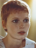 Mia Farrow Close Up Portrait wearing White Printed Tank Top