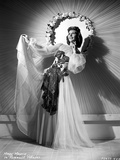 Mary Martin on a Lace Dress and Swaying her Skirt standing Pose