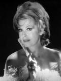 Portrait of Arlene Dahl posed in Black Background