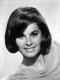 Stefanie Powers smiling in Black and White Close Up Portrait wearing Silk Dress
