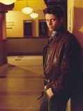 Portrait of Thomas Howell in Brown Leather Jacket