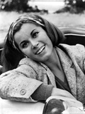 Stefanie Powers Leaning Pose in Black and White Portrait wearing Coat