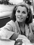 Stefanie Powers smiling in Black and White Portrait wearing Coat