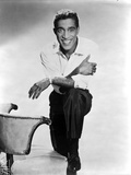 Sammy Davis Kneeling in White Long sleeve With Arm's Leaning on Knee