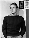 Robert Stack Posed in Black Sweater