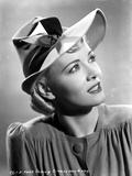 Penny Singleton Looking Up wearing Ribbon Hat Close Up Portrait