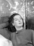 Rosalind Russell Leaning on Hand Behind her Head