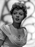 Shelley Winters wearing a Scoop-Neck Gown and Necklace in a Classic Portrait