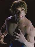 Lou Ferrigno Posed as Hulk with Black Background