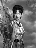 Suzanne Pleshette wearing a Dress and posed with Ferns