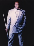 Michael Clarke Duncan Posed in Formal Suit Black Background Portrait