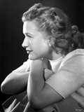 Priscilla Lane Facing to the side in Casual Shirt Black and White Portrait