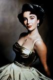 Elizabeth Taylor Posed in Silver Dress Portrait