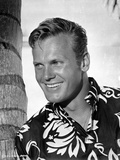 Tab Hunter Leaning in Hawaiian With White Portrait