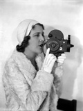 Ruth Roland in White Fur Coat with Camera