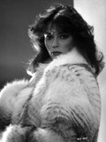 Rachel Ward Posed in Black and White Portrait wearing Fur Coat